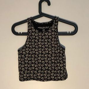 Floral crop top in black with white flowers